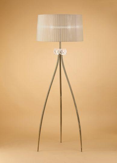 Mantra M4638AB Loewe Floor Lamp 3 Light E27 Antique Brass With Soft Bronze Shade