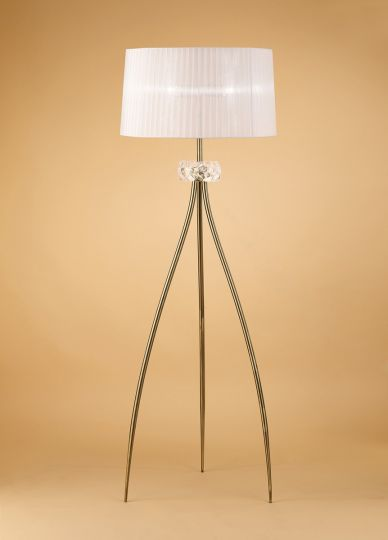 Mantra M4638AB Loewe Floor Lamp 3 Light E27 Antique Brass With White Shade