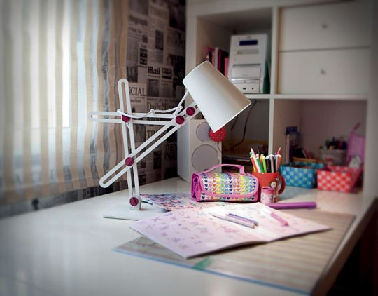Mantra M3613 Looker Table Lamp 1 Light E27 Matt White/Purple
