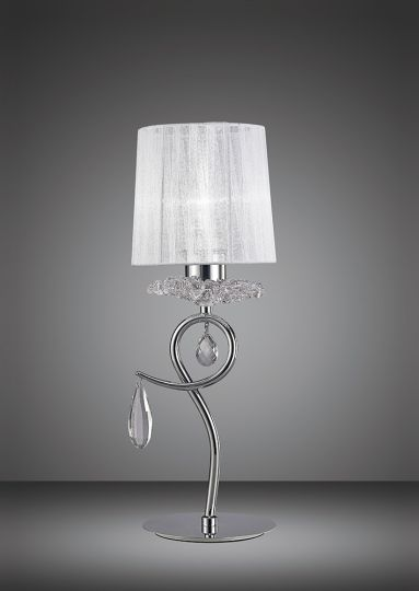 Mantra M5279 Louise Table Lamp 1 Light E27 With White Shade Polished Chrome/Clear Crystal