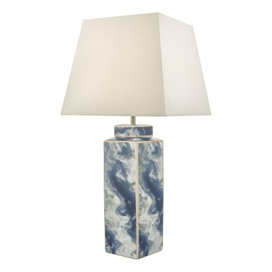 Dar Lighting Loyce Table Lamp Blue & Ceramic Base Only LOY4223
