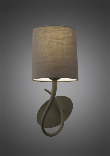 Mantra M3681/S Lua Wall Lamp Switched 1 Light E27 Ash Grey With Ash Grey Shade