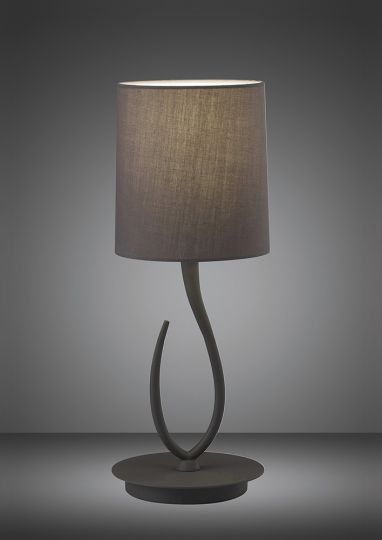 Mantra M3682 Lua Table Lamp 1 Light E27 Small Ash Grey With Ash Grey Shade