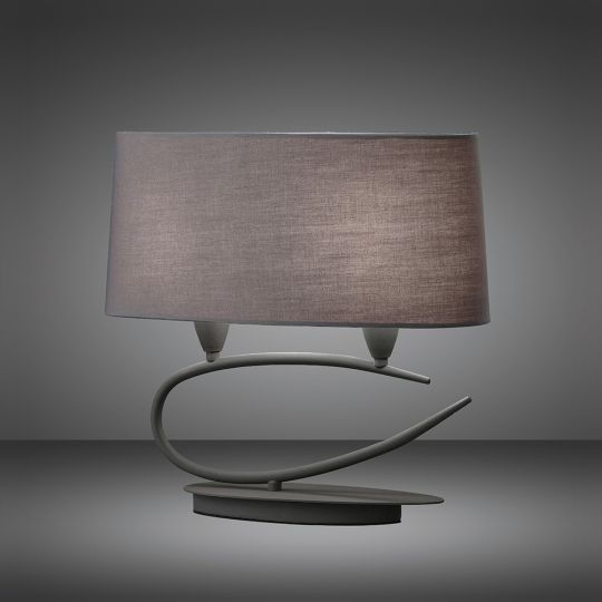 Mantra M3683 Lua Table Lamp 2 Light E27 Ash Grey With Ash Grey Shades
