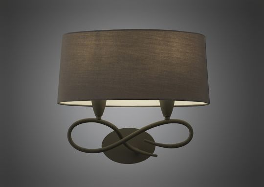 Mantra M3687/S Lua Wall Lamp Switched 2 Light E27 Ash Grey With Ash Grey Shade