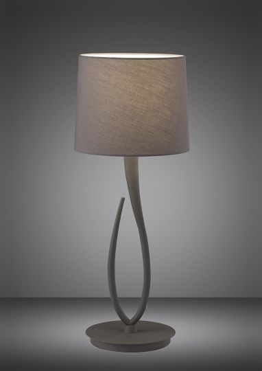 Mantra M3688 Lua Table Lamp 1 Light E27 Large Ash Grey With Ash Grey Shade