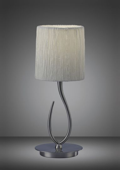Mantra M3702 Lua Table Lamp 1 Light E27 Satin Nickel Small With White Shade
