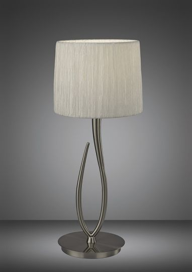 Mantra M3708 Lua Table Lamp 1 Light E27 Satin Nickel Large With White Shade