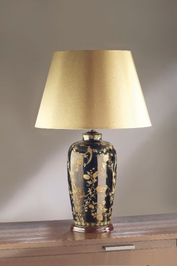 Luis Collection LUI/GOLD BIRDS Gold Birds & Berries Blue Table Lamp