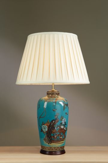 Luis Collection LUI/PEACOCK Peacock Turquoise Table Lamp