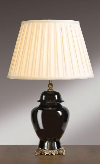 Luis Collection LUI/BLACK TJ Black Brass Base Temple Jar Lamp