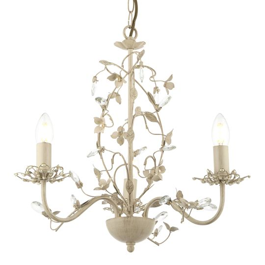 Endon Lighting - CREAM/GOLD 3 LIGHT PENDANT WITH CRYSTAL & PEARLS - LULLABY-3CR