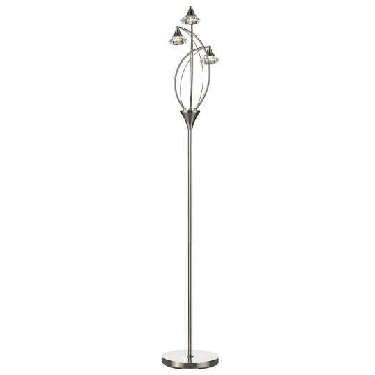 Dar Lighting Luther 3 Light Floor Lamp complete with Crystal Glass Satin Chrome LUT4946