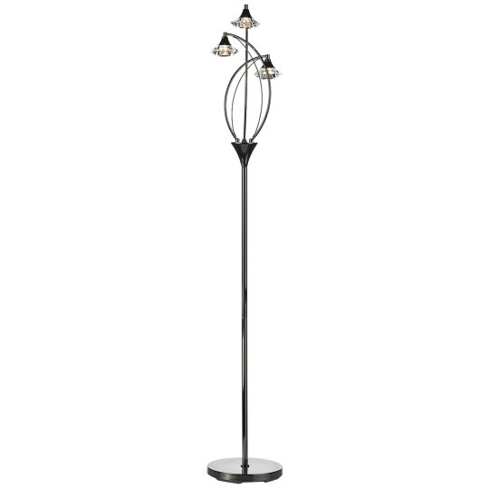 Dar Lighting LUT4967 Luther 3 Light Floor Lamp complete with Crystal Glass Black Chrome