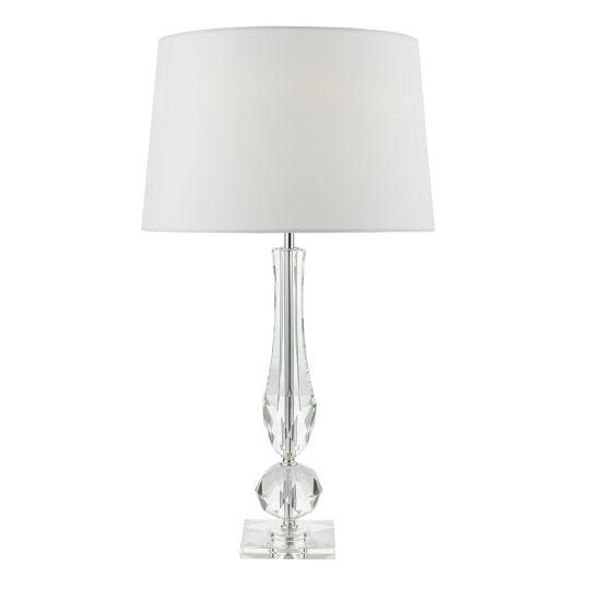 Dar Lighting Macy Table Lamp Cut Crystal Base  c/w White Faux Silk Lined Shade MAC4208
