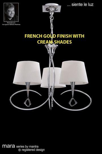 Mantra Lighting M1640FG - Mara Pendant 3 Light French Gold/Cream