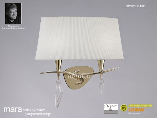 Mantra Lighting M1648FG/S - Mara Wall Lamp 2 Light French Gold/Cream Switched