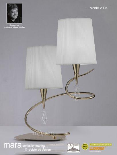 Mantra Lighting M1651FG - Mara Table Lamp 2 Light French Gold/Cream