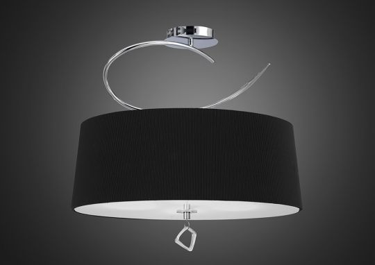 Mantra M1645/BS Mara Semi Ceiling 4 Light E27 Round Polished Chrome With Black Shade