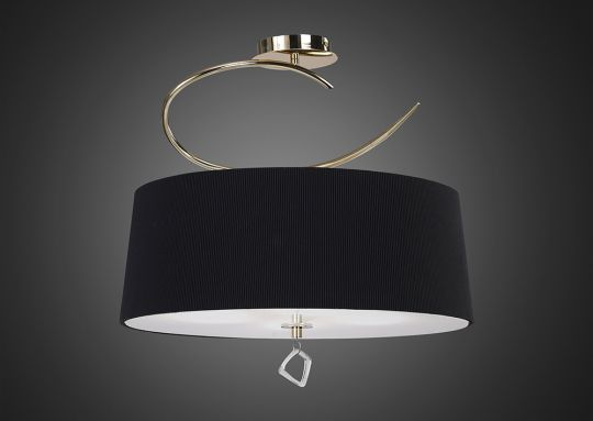 Mantra M1645FG/BS Mara Semi Ceiling 4 Light E27 Round French Gold With Black Shade