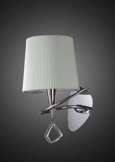 Mantra M1647/S Mara Wall Lamp Switched 1 Light E14 Polished Chrome With Ivory White Shade