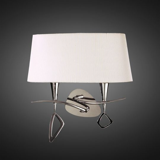 Mantra M1648/S Mara Wall Lamp Switched 2 Light E14 Polished Chrome With Ivory White Shade
