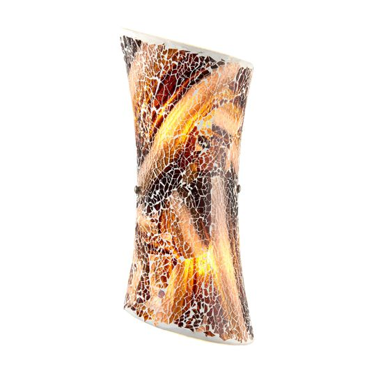 Endon Lighting - 2 LIGHT WALL BRACKET IN HAND PAINTED DARK COLOURED CRACKLED GLASS - MARCONI-2WBDA