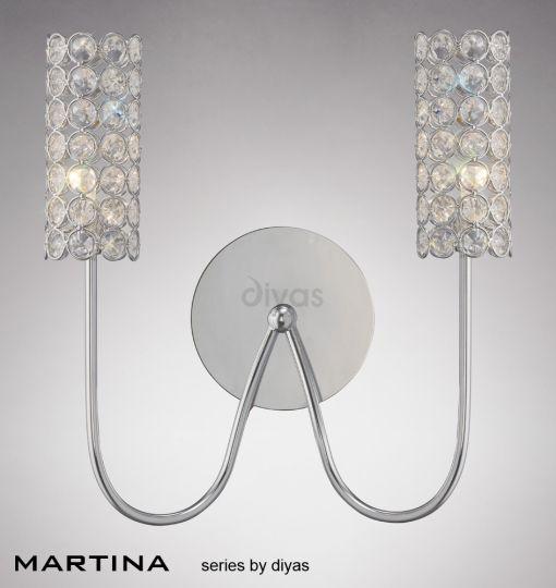 Diyas Lighting IL20620 - Martina Wall Lamp 2 Light Polished Chrome/Crystal