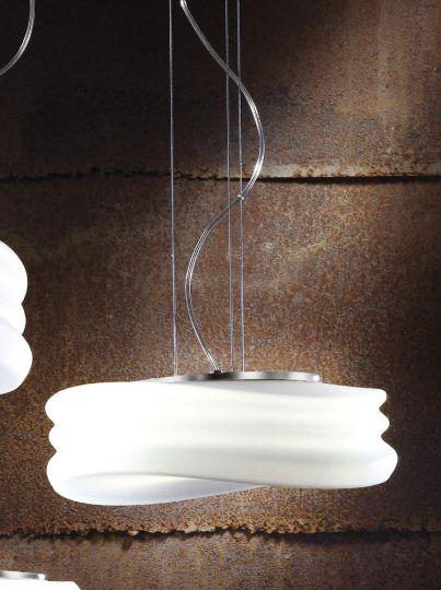 Mantra M3621 Mediterraneo Pendant 2 Light E27 Medium Polished Chrome/Frosted White Glass