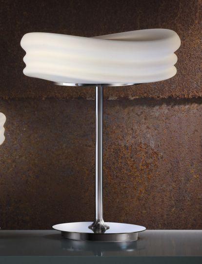 Mantra M3626 Mediterraneo Table Lamp 2 Light E27 Medium Polished Chrome/Frosted White Glass