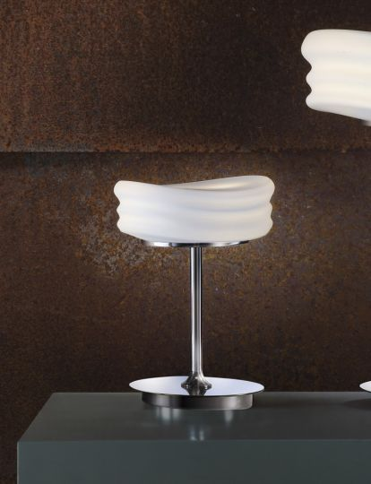 Mantra M3627 Mediterraneo Table Lamp 2 Light GU10 Small Polished Chrome/Frosted White Glass