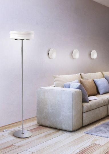 Mantra M3628 Mediterraneo Floor Lamp 2 Light E27 Polished Chrome/Frosted White Glass