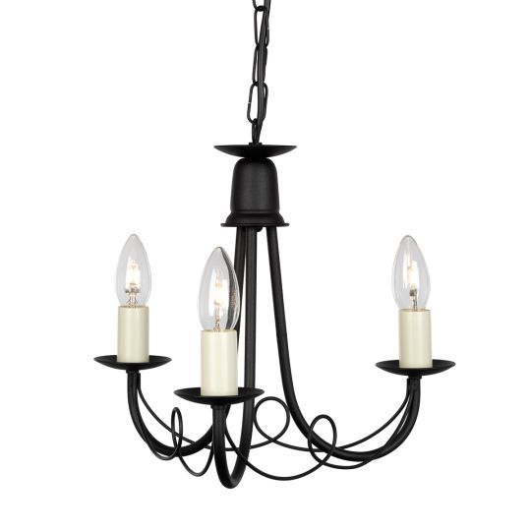 Elstead Lighting Minster 3 Light Chandelier - Black  MN3-BLACK