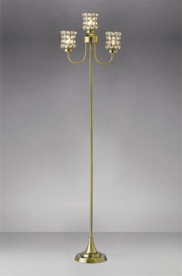 Diyas IL20664 Nelson Floor Lamp 3 Light Antique Brass/Crystal