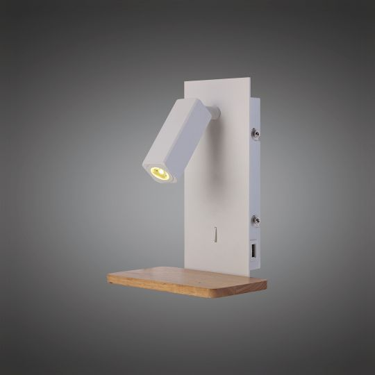 Mantra M5463 Nordica II Position Wall Light With USB Socket 180lm 1x3W 3000K LED White/Beech 3yrs Warranty