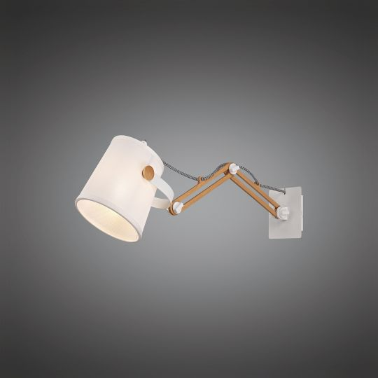 Mantra M5466 Nordica II Position Extendable Wall Light 1x23W E27 White/Beech With White Shade