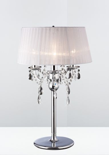 Diyas IL30062 Olivia Table Lamp With White Shade 3 Light Polished Chrome/Crystal