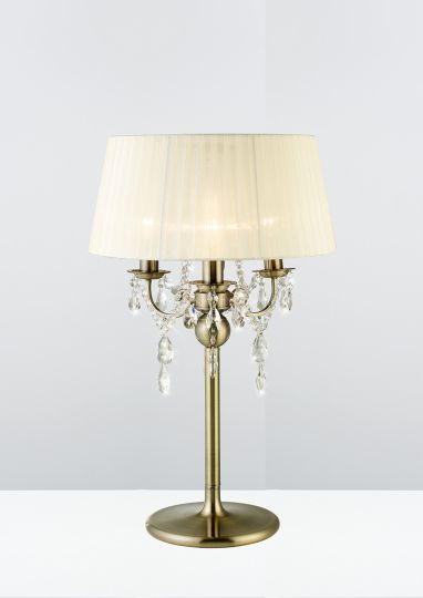 Diyas IL30065 Olivia Table Lamp With Cream Shade 3 Light Antique Brass/Crystal