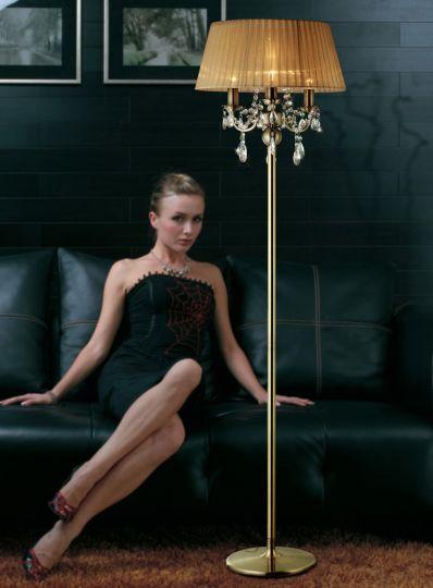 Diyas IL30066 Olivia Floor Lamp With Soft Bronze Shade 3 Light Antique Brass/Crystal