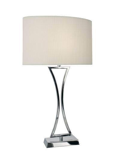Dar Lighting OPO4150 - Oporto Wavy Table Lamp Polished Chrome complete with Cream Oval Shade