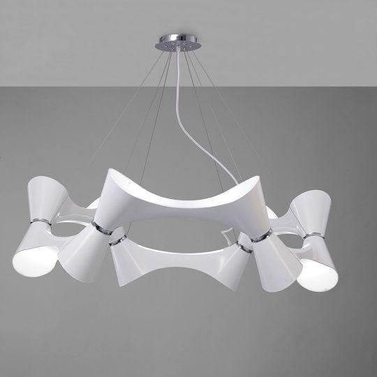 Mantra M1543 Ora Pendant 12 Twisted Round Light E27 Gloss White/White Acrylic/Polished Chrome