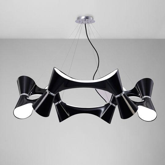 Mantra M1553 Ora Pendant 12 Twisted Round Light E27 Gloss Black/White Acrylic/Polished Chrome
