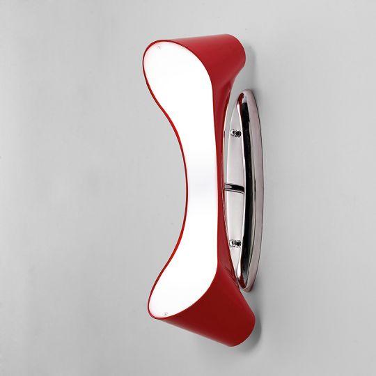Mantra M1564 Ora Wall Lamp 2 Light E27 Gloss Red/White Acrylic/Polished Chrome