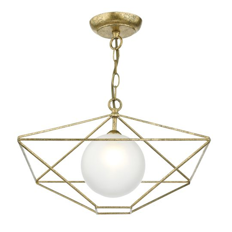 Dar Lighting Orsini 1 Light Pendant Antique Gold Opal Glass Shade  ORS0135