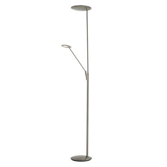 Dar Lighting OUNDLE LED FLOOR LAMP WITH READING LIGHT SAT NICKEL OUN4946