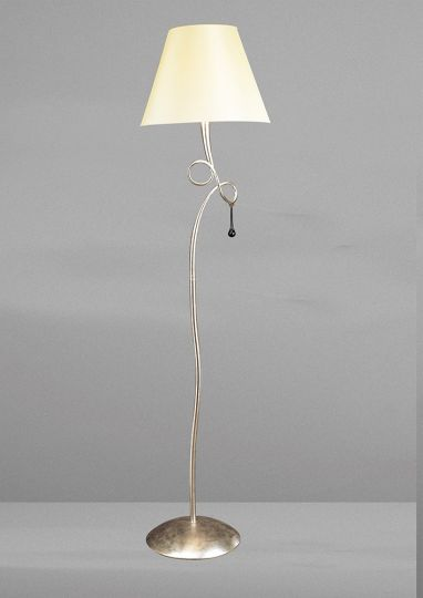 Mantra M0533/CS Paola Floor Lamp 1 Light E27 Silver Painted With Cream Shade & Black Glass Droplets