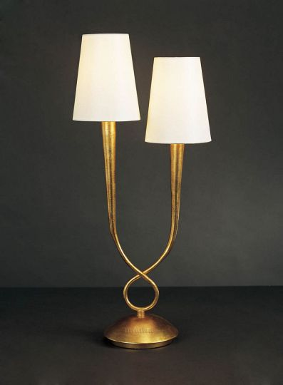 Mantra M0546 Paola Table Lamp 2 Light E14 Gold Painted With Cream Shades