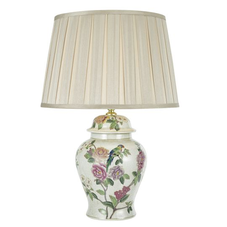 Dar Lighting Peony Porcelain Table Lamp Base Hand Finished Floral Motif PEO4255