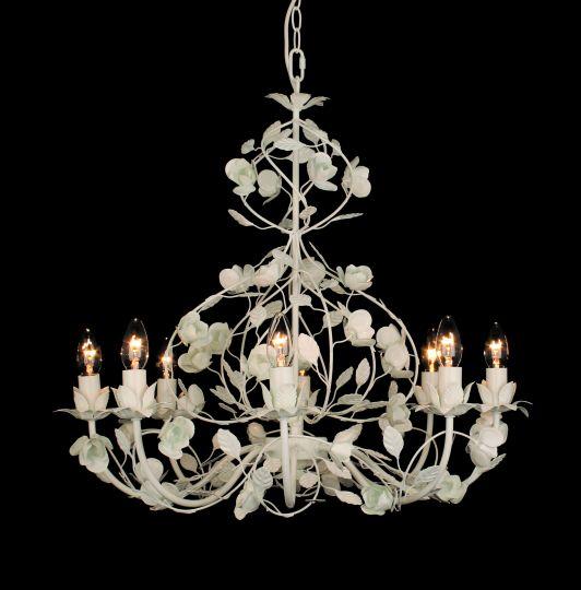 Impex PG112027/08/WH Malaga  Series Decorative 8 Light White Ceiling Light