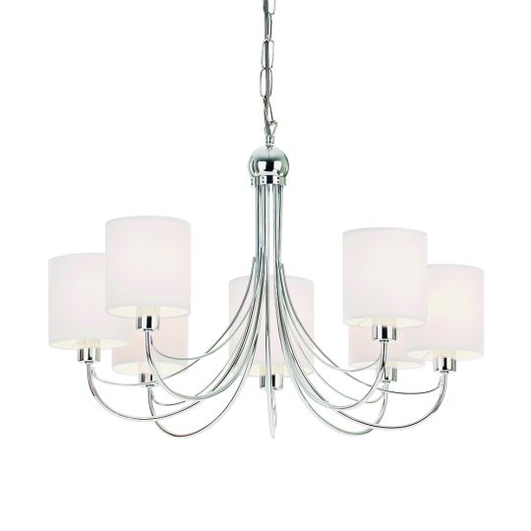 Endon Lighting Phantom Chrome Plate & White Fabric 7 Light Pendant Light PHANTOM-7CH